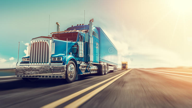 Lastbilkörningarna på huvudvägen vektor illustrationer