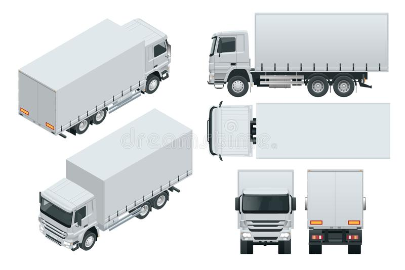 Lastbilleveransen, lastbilmodell isolerade mallen på vit bakgrund Isometriskt sida som är främre, tillbaka, bästa sikt royaltyfri illustrationer