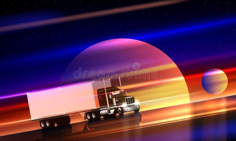Lastbilritter på huvudvägen i utrymme Halv lastbil för klassisk stor rigg med den torra skåpbilen på nattvägen på en stjärnklar h stock illustrationer