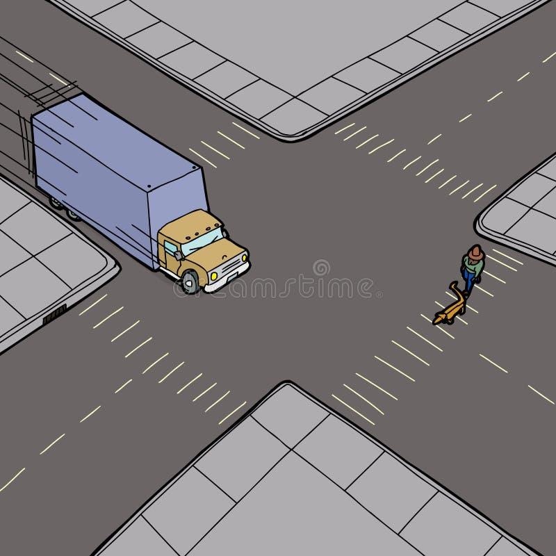 Lastbilrusa och person på gatan stock illustrationer