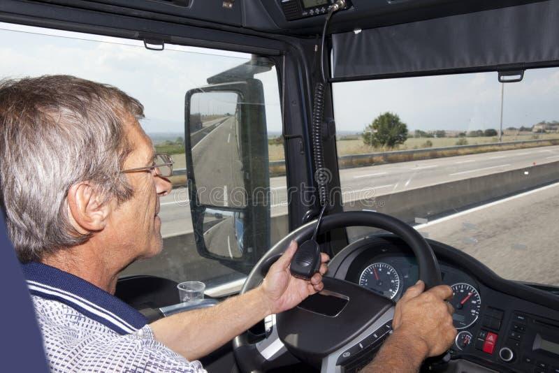 Lastbilsförare Radio arkivbilder