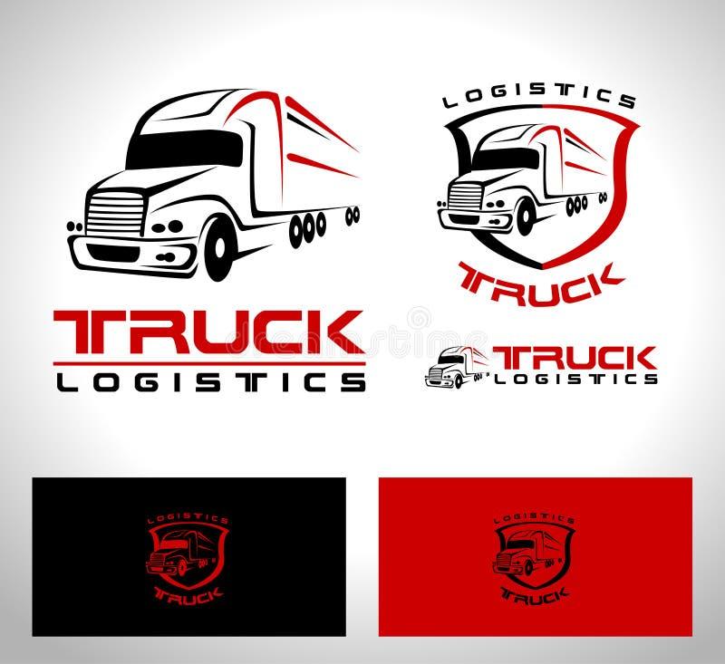 Lastbilsläplogo stock illustrationer