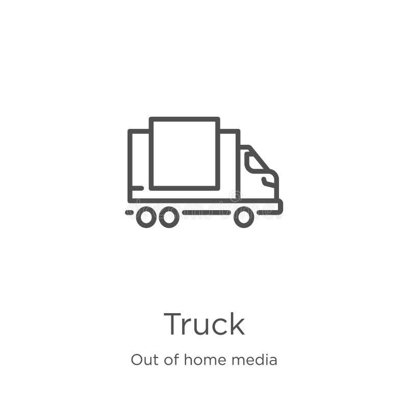 lastbilsymbolsvektor från ut ur hem- massmediasamling Tunn linje illustration f?r vektor f?r lastbil?versiktssymbol Översikt tunn vektor illustrationer
