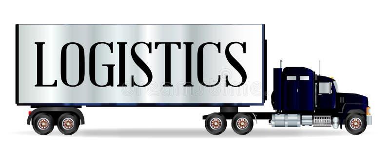 Lastbiltraktorenhet och släp med logistikinskriften stock illustrationer
