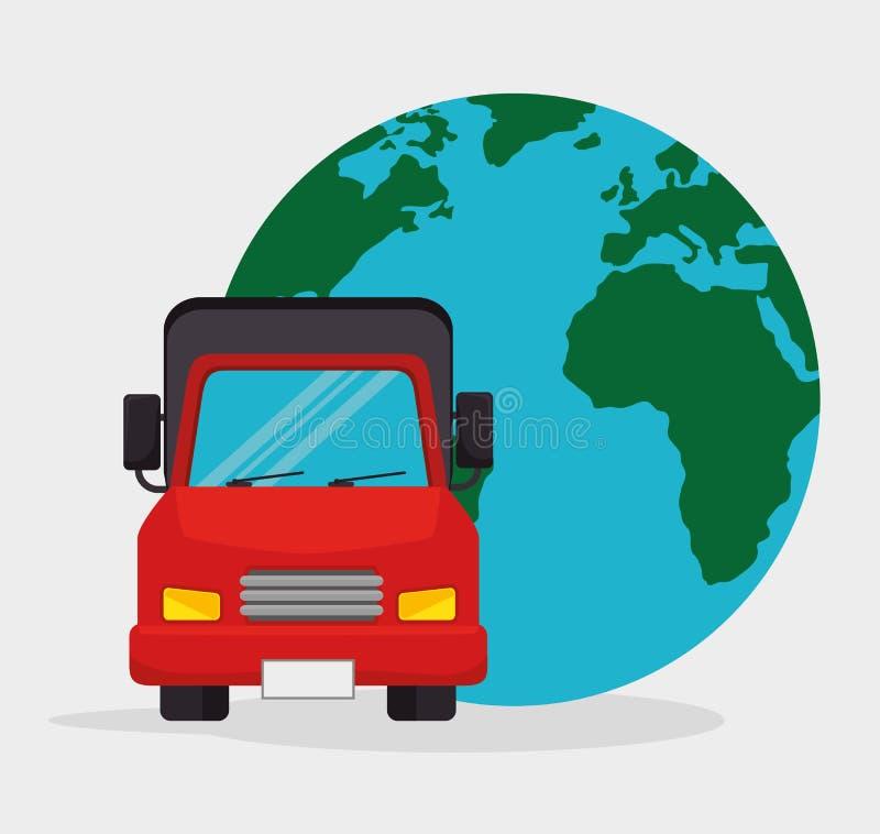 Lastbiltransportglobel över hela världen royaltyfri illustrationer