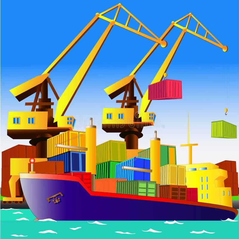 Lastfartyg med behållare i havsport, vektor vektor illustrationer