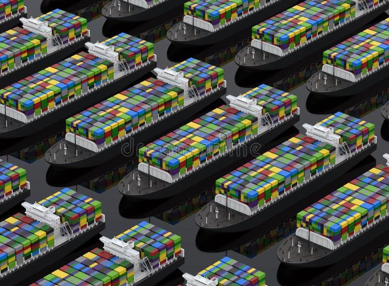 Lastfartyg mycket av behållare stock illustrationer