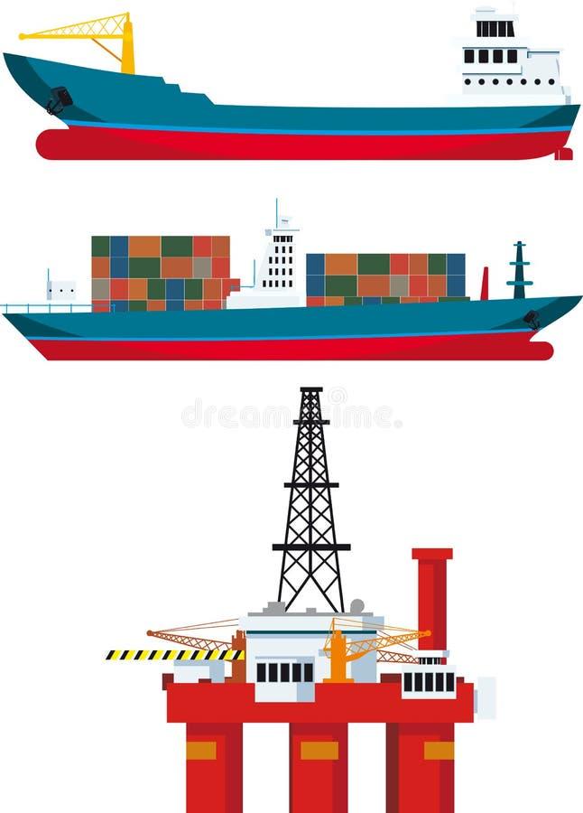 Lastfartyg och olje- plattform vektor illustrationer