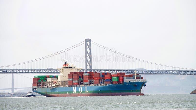 LastfartygMOL FÖRMYNDARE som skriver in porten av Oakland arkivbild