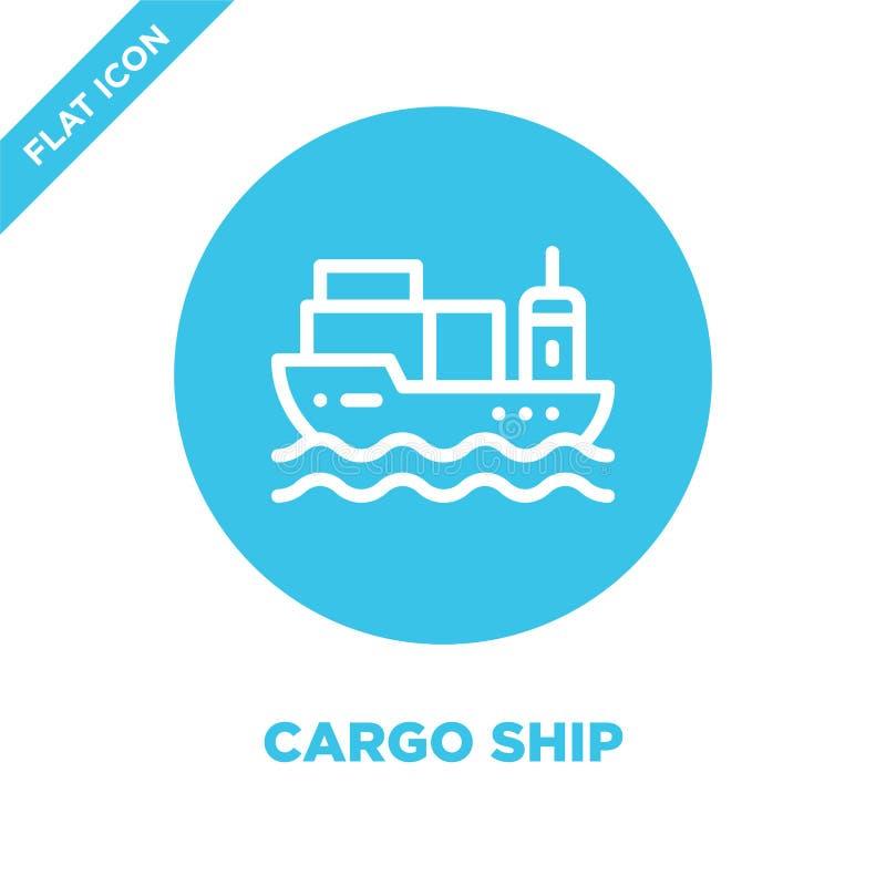 Lastfartygsymbolsvektor Tunn linje illustration för vektor för lastfartygöversiktssymbol lastfartygsymbol för bruk på rengöringsd royaltyfri illustrationer