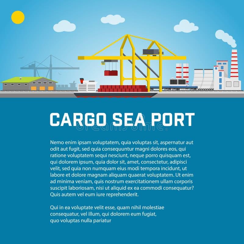Lasthavsport, avlastning av behållare från behållarebäraren, kranar i påfyllningskepp eller lastar av vektor stock illustrationer