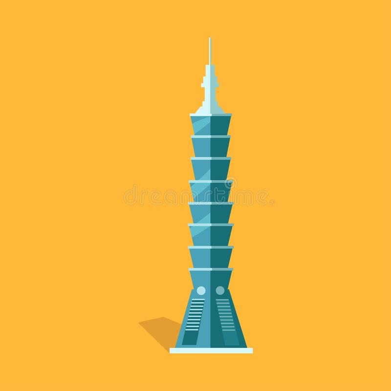 Lasting Taipei 101-story Skyscraper in Taiwan. Lasting Taipei 101-story skyscraper with spire in Taiwan flat and shadow theme on yellow. Vector illustration of stock illustration