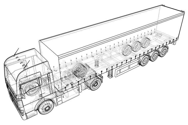 Lastlastbilsläp abstrakt teckning Tråd-ram EPS10 formaterar Vektor som skapas av 3d royaltyfri illustrationer