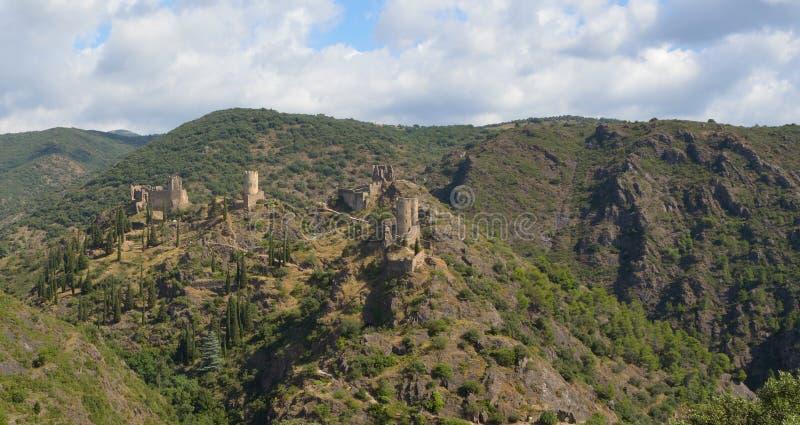 Lastours Four Castles stock photography