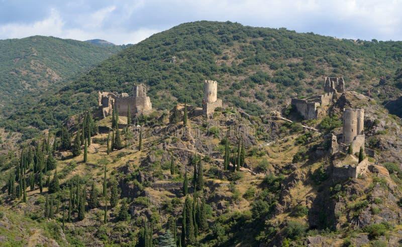 Lastours Four Castles stock photos