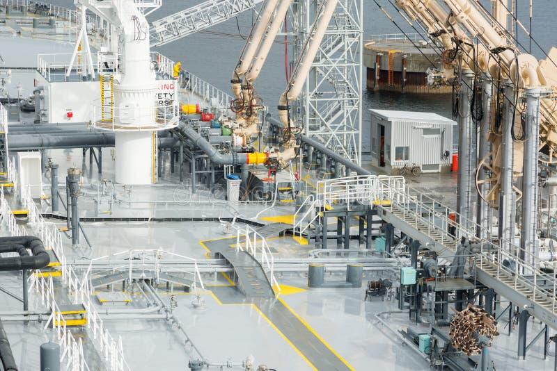Laströrledning av tankfartyget och kustterminalen royaltyfri fotografi