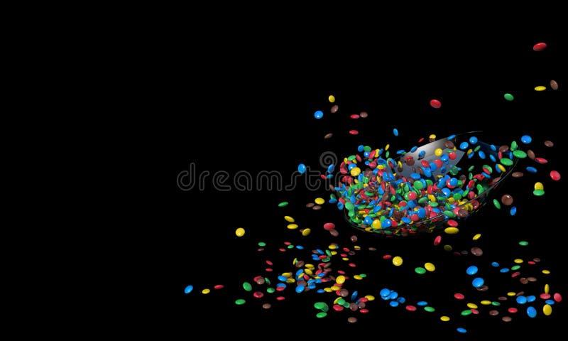 Lastra di vetro con molte piccole caramelle rotonde variopinte Il mucchio dei dolci ha sparso su un fondo nero con spazio libero  royalty illustrazione gratis
