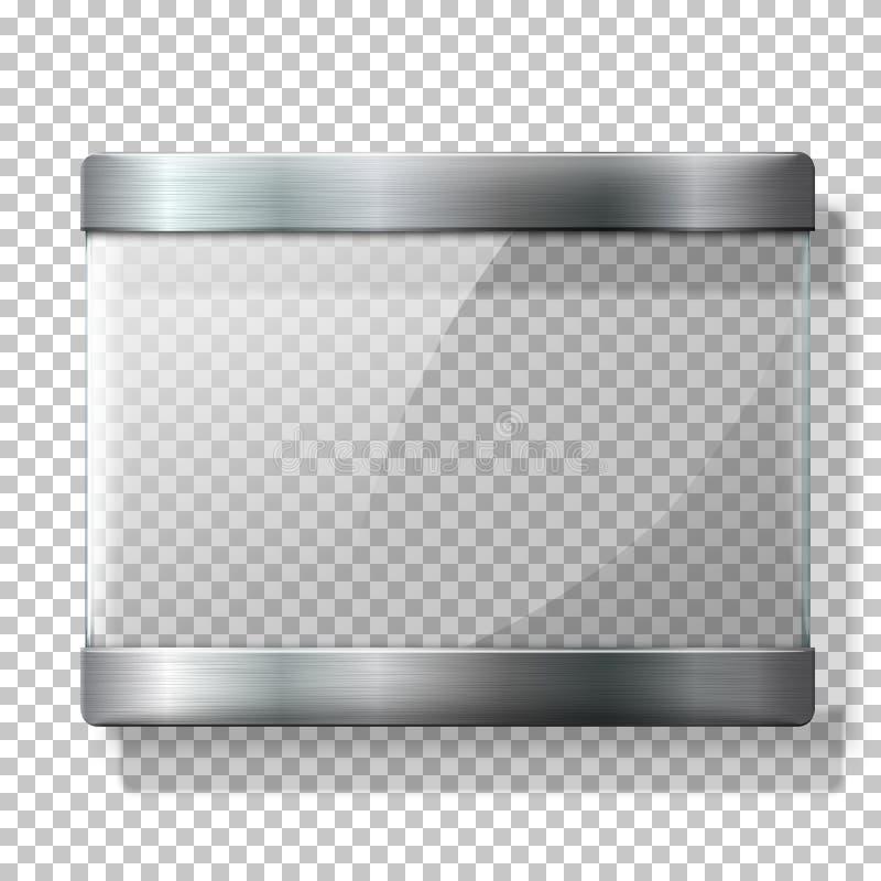 Lastra di vetro di vettore trasparente con i supporti del metallo, per i vostri segni, sul fondo del wplaid illustrazione di stock