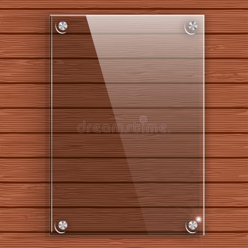 Lastra di vetro sulla parete del fondo delle plance di legno illustrazione di stock