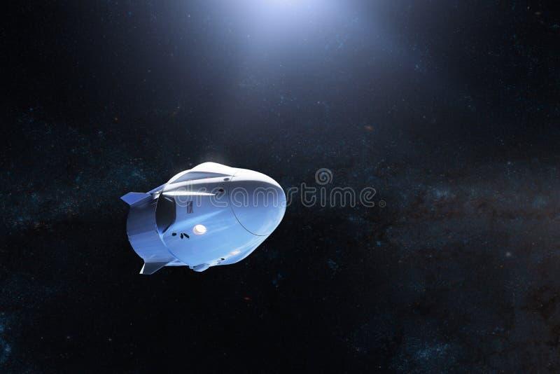 Lastrymdskepp i öppet utrymme Beståndsdelar av denna avbildar möblerat av NASA royaltyfria foton