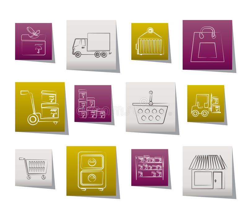 lastsymboler som sänder lagringstrans. stock illustrationer