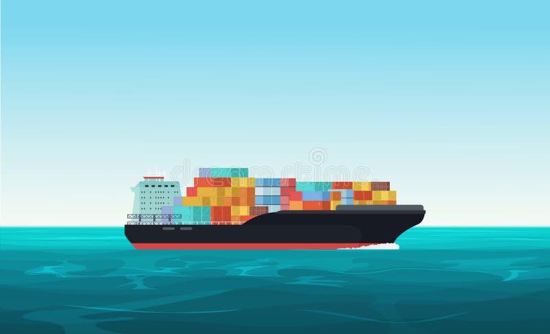 Lasttrans.skepp med behållare i havet Leverans sändande vektor för frakttrans.begrepp vektor illustrationer
