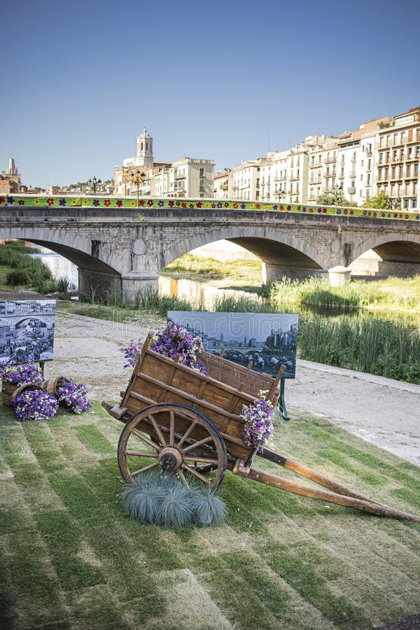 Lastwagen geladen mit Blumen in der Bl?te in Girona, Katalonien stockfoto