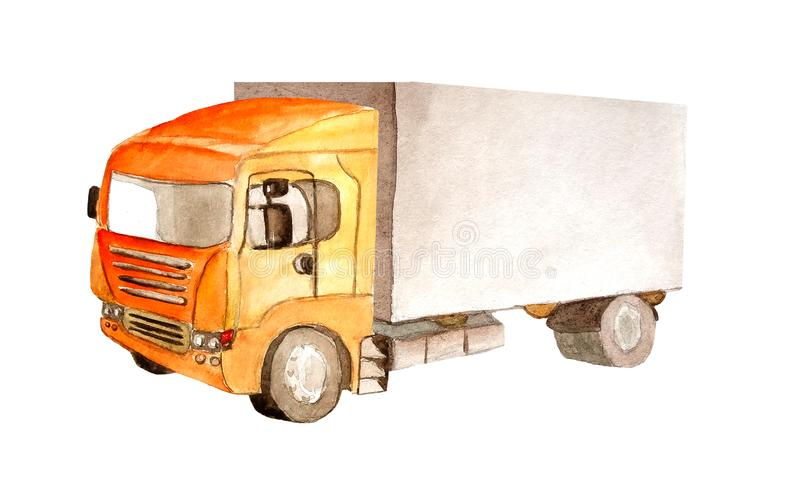 Lastwagen-LKW mit orange Fahrerhaus und grauer Karosserie 4 dreht sich in das Aquarell, das auf weißem Hintergrund lokalisiert wi stock abbildung