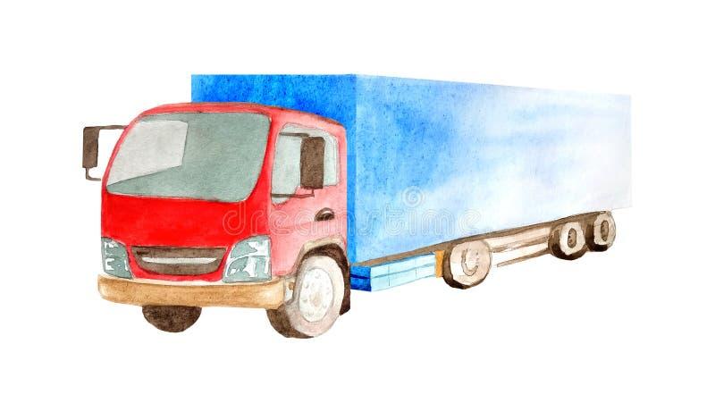 Lastwagen-LKW mit rotem Fahrerhaus und blauen Rädern der Karosserie 8 im Aquarell lokalisiert auf weißem Hintergrund lizenzfreie abbildung