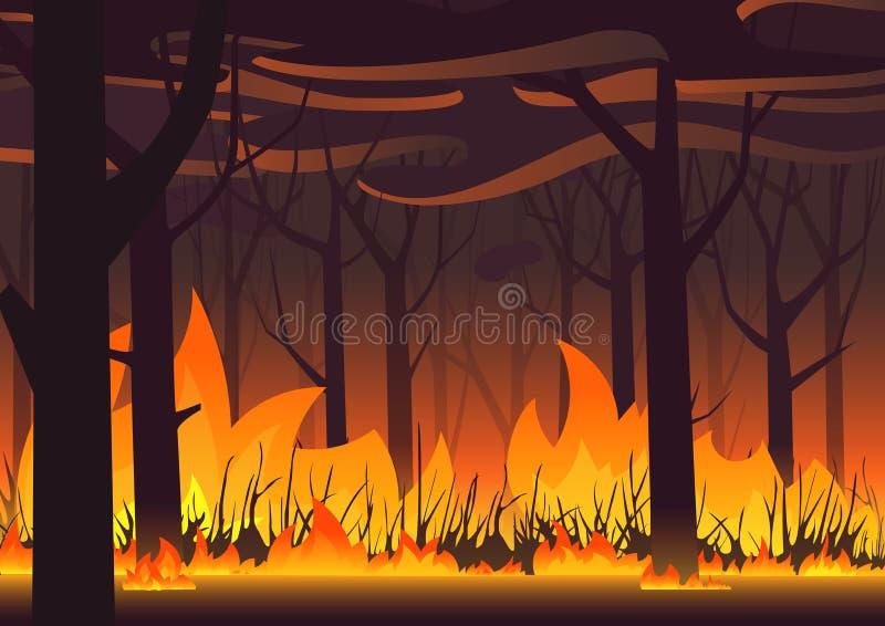 Lasu eco sztandar Ogień w lasowej pożaru krajobrazu wektoru ilustracji ilustracji