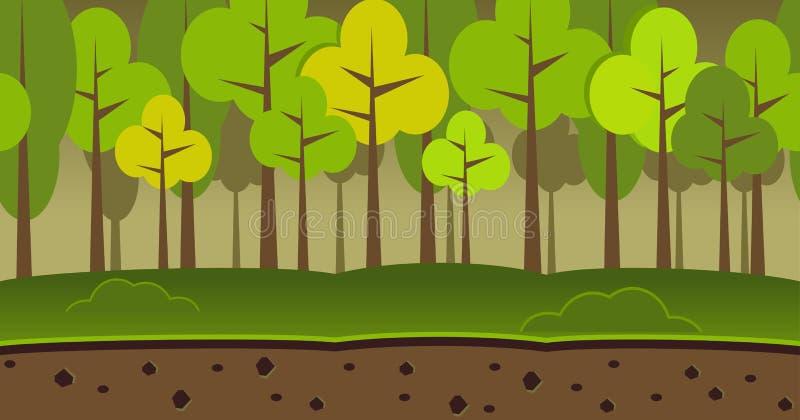 Lasu krajobrazowy bezszwowy tło Ciemny lasowy tło royalty ilustracja