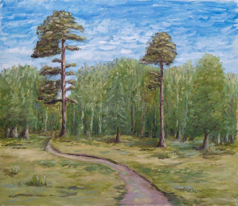 Lasu krajobrazowy obraz olejny zdjęcia royalty free