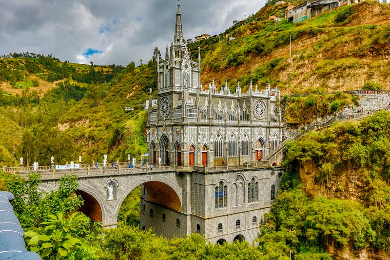 Lasu Lajas sanktuarium w Ipiales budował w xviii wiek zdjęcie stock