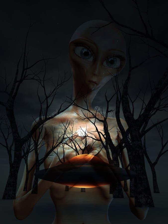 lasu obcy ufo ilustracja wektor