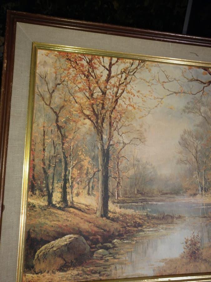 lasu obraz olejny krajobrazowa rzeka fotografia royalty free