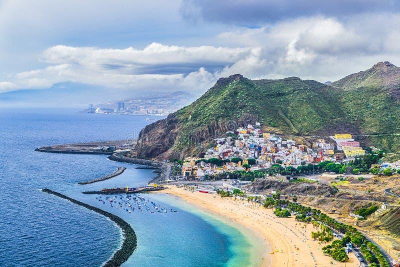Lasu Teresitas plaża i San Andres wioska, Tenerife, wyspy kanaryjska, Hiszpania obraz royalty free