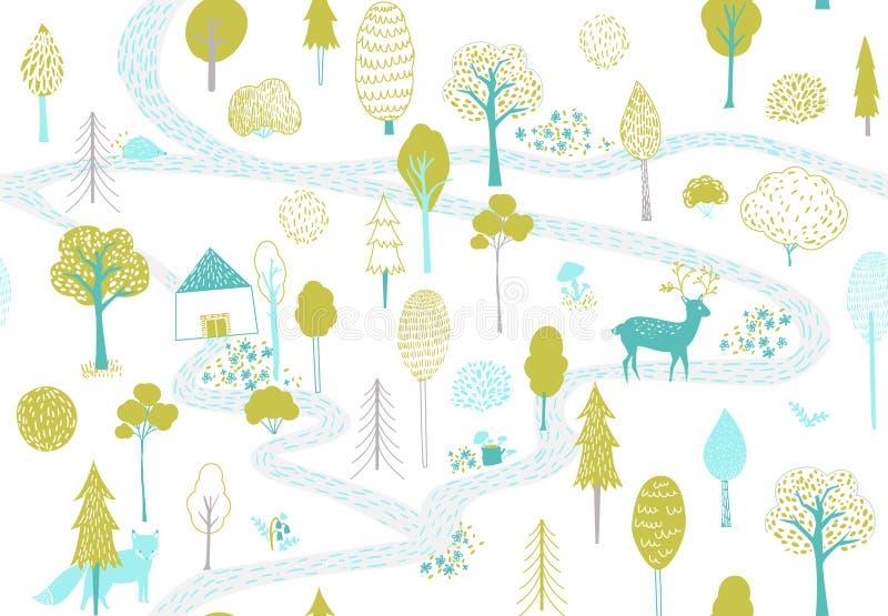 Lasu wzór z rogaczem, lisem i małym domem, Bezszwowa tekstura z śliczna ręka rysować ilustracjami drzewa i zwierzęta royalty ilustracja