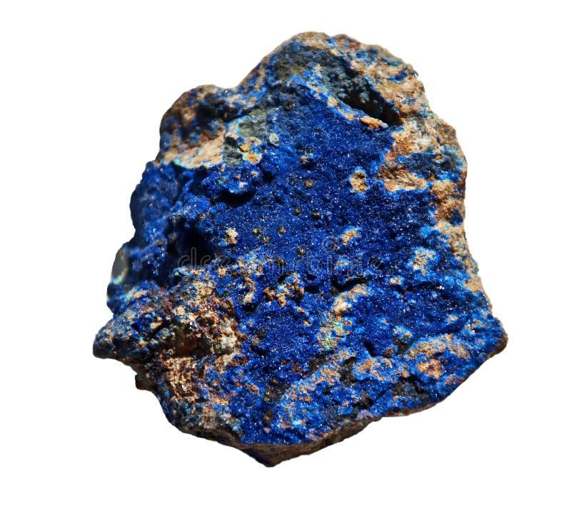 Lasurstein-Kobalt-blauer Stein lokalisiert auf Weiß stockbild