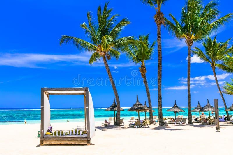 Lasy热带假日 白色沙滩在毛里求斯海岛 库存图片