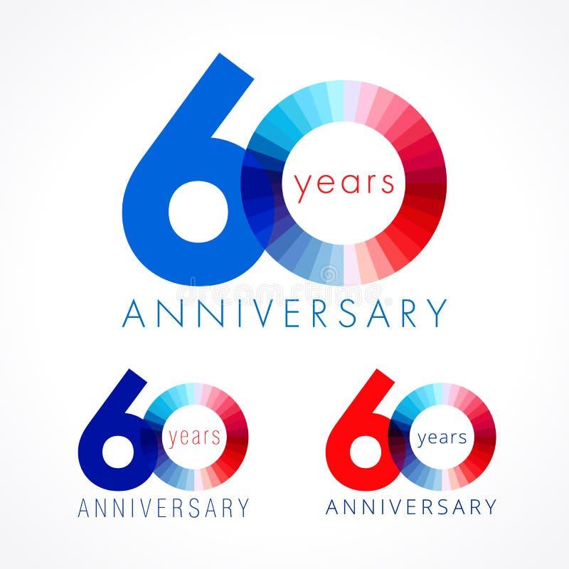 60 lat świętuje barwionego loga ilustracja wektor