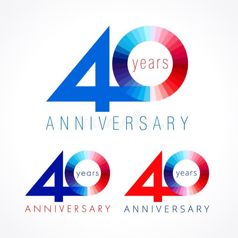 40 lat świętuje barwionego loga ilustracji