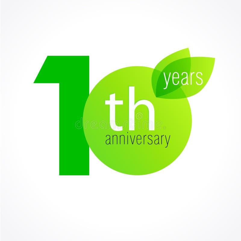 10 lat świętuje zieleń opuszcza loga ilustracji