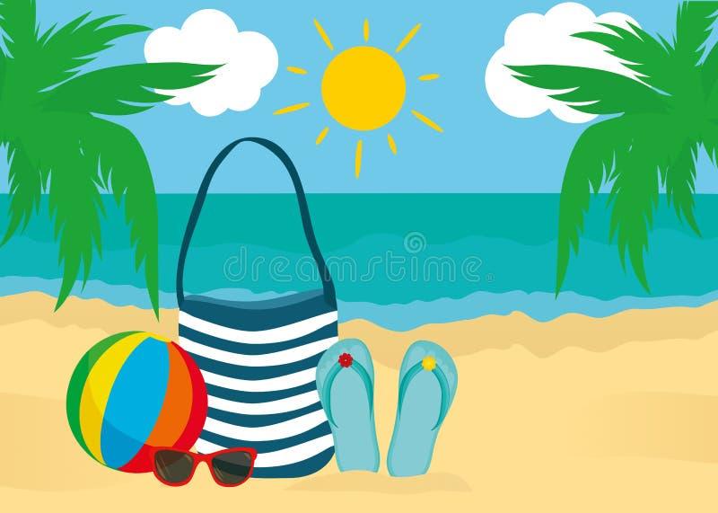 Lat akcesoria dla plaży Torba, okulary przeciwsłoneczni, trzepnięcie klapy, piłka Przeciw tłu słońce drzewka palmowe i morze ilustracji