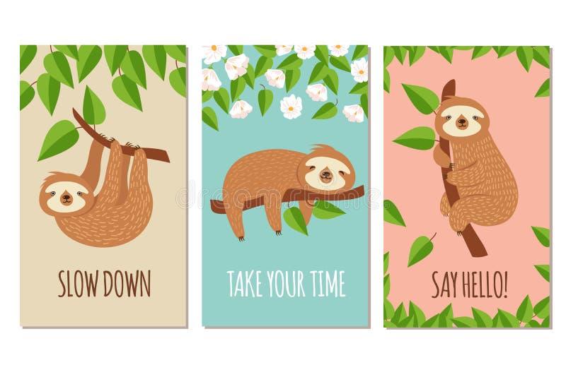 lat sloth Gulliga slumra sengångare på filial För för skjortadesign eller hälsning för barn t uppsättning för vektor för kort stock illustrationer