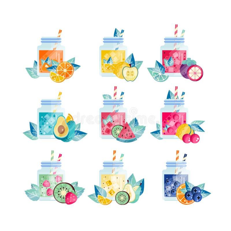 Lat smoothies w szklanych słojach Świezi napoje z różnymi owocowymi smakami Jarski koktajl Zdrowy styl życia lub dieta ilustracja wektor