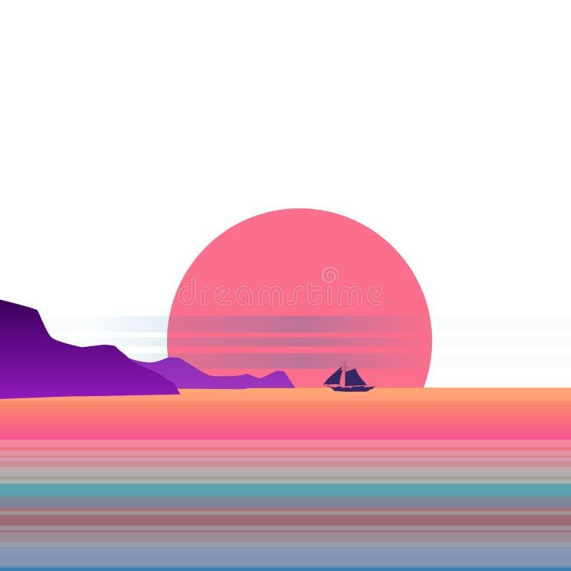 Lat tło pogodny tropikalny seascape z nadmorski, mountanes nieba horison, zmierzch Wektorowa ilustracja, odizolowywająca ilustracja wektor