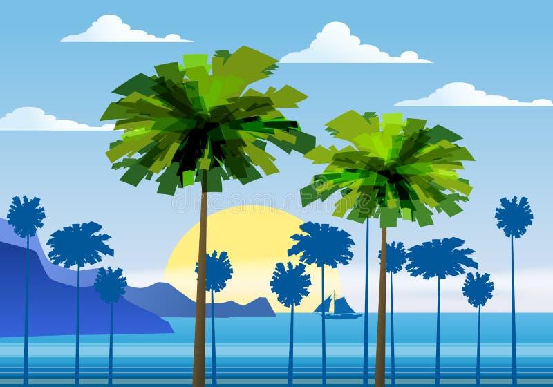 Lat tło pogodny tropikalny seascape z palma nadmorski, mountanes nieba horison, zmierzch również zwrócić corel ilustracji wektora royalty ilustracja