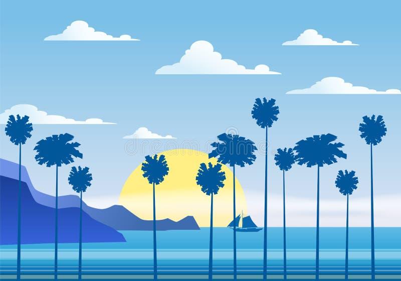 Lat tło pogodny tropikalny seascape z palma nadmorski, mountanes nieba horison, zmierzch również zwrócić corel ilustracji wektora ilustracja wektor