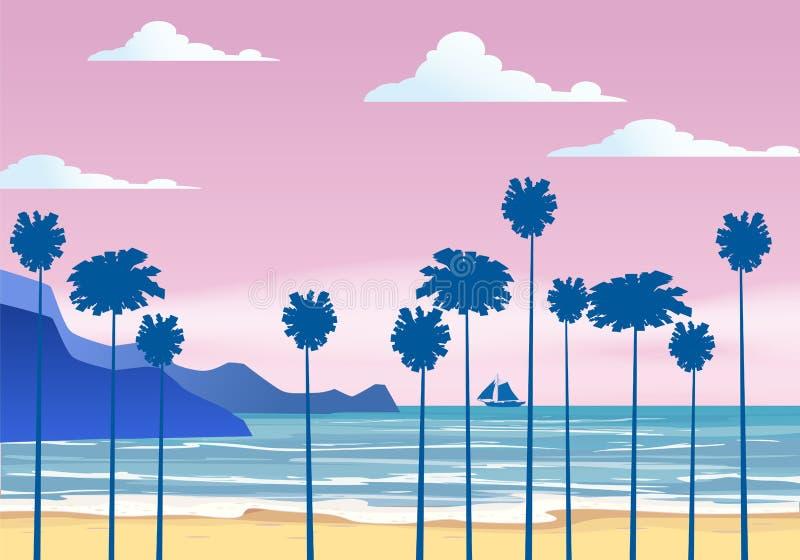 Lat tło pogodny tropikalny seascape z palma nadmorski, plażowy mountanes nieba horison, zmierzch również zwrócić corel ilustracji ilustracji