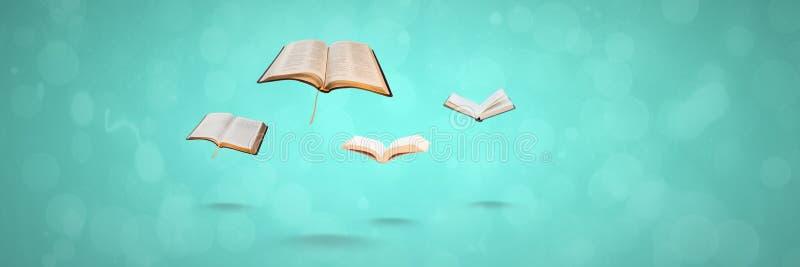Latać książki na błękitnym tle zdjęcie royalty free
